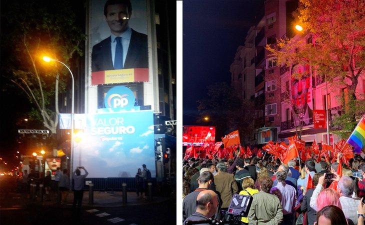 Tristeza en Génova con la debacle del PP frente a la alegría de Ferraz con la victoria del PSOE