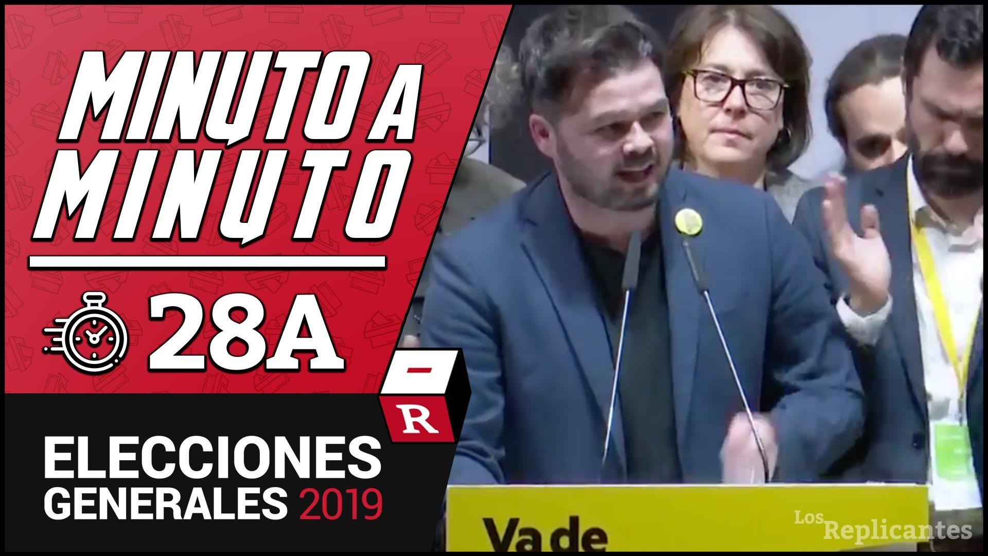 Gabriel Rufián y ERC, eufóricos tras sus excelentes resultados obteniendo 15 escaños