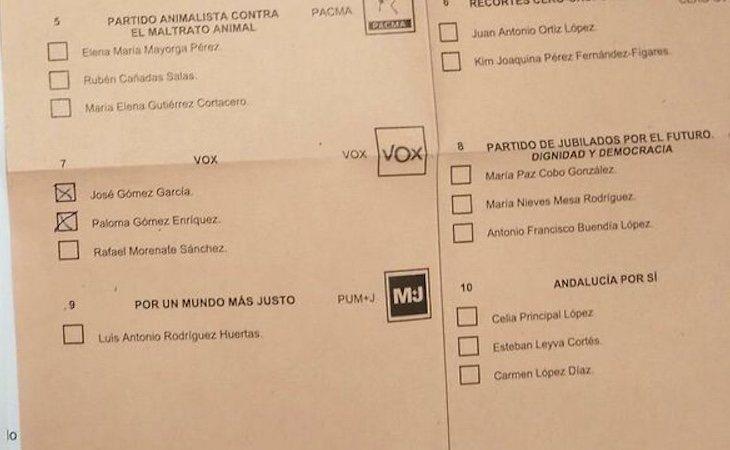 El voto manipulado tenía marcadas con bolígrafo dos de los tres candidatos de VOX al Senado - El Diario