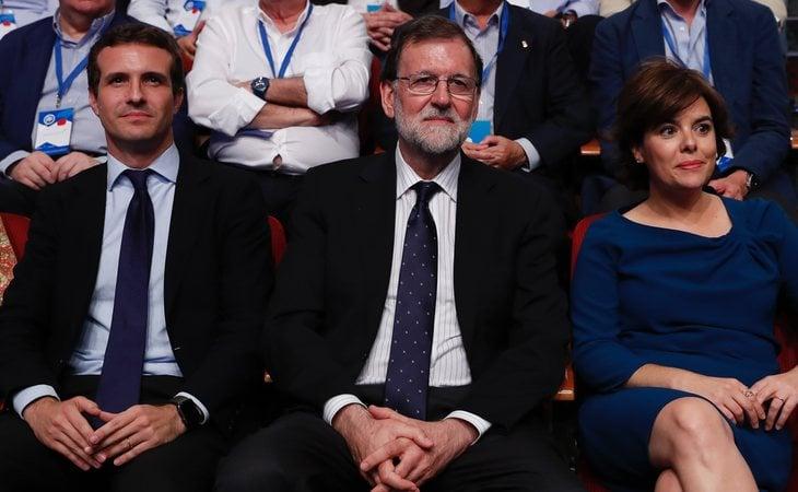 Pablo Casado, Mariano Rajoy y Soraya Sáenz de Santamaría