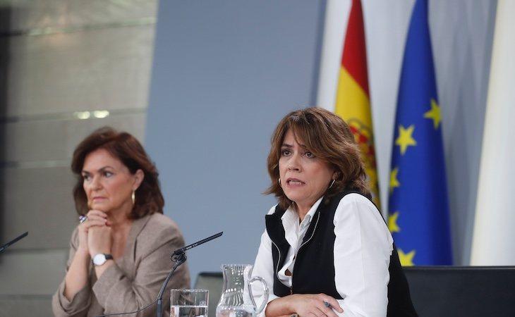 Dolores Delgado y Carmen Calvo, la vicepresidenta de Gobierno