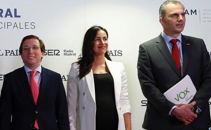 José Luis Martínez-Almeida (PP), Begoña Villacís (Cs) y Javier Ortega Smith (VOX), no sumarían