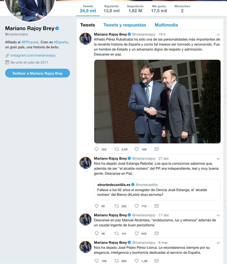 Twitter de Mariano Rajoy, aficionado a las necrológicas