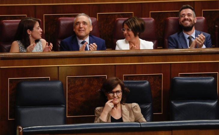 Carmen Calvo y su equipo celebraron la aprobación de la exhumación de Franco