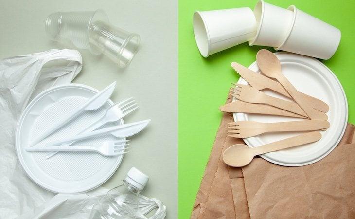 Los cubiertos y vajilla de plástico se pueden sustituir por otros de materiales reciclables