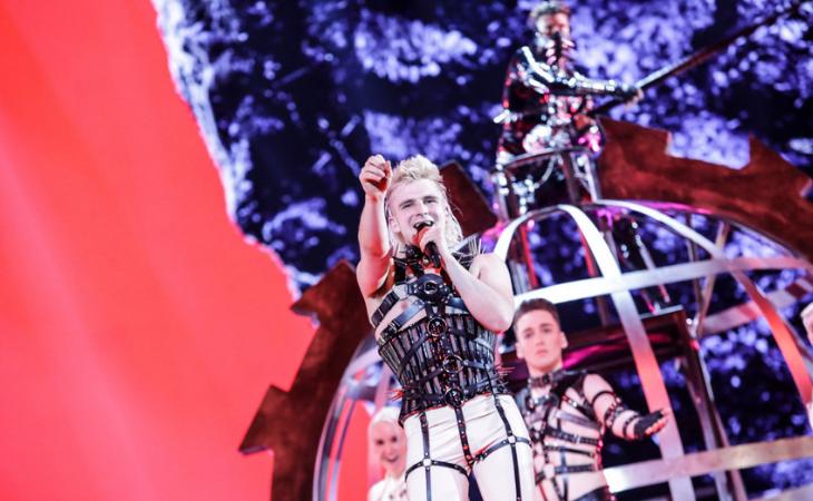 Hatari, representantes de Islandia, en la primera semifinal de Eurovisión 2019