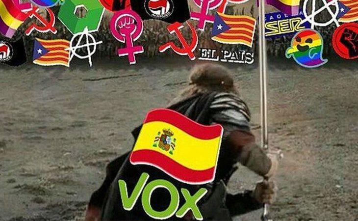 El montaje de VOX utilizando la imagen de Aragorn de 'El señor de los anillos'