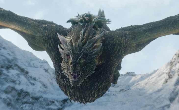 Rhaegal, dragón de Daenerys Targaryen, fue cabalgado por Jon Snow