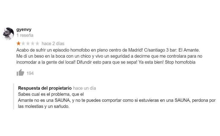 La reacción homófoba del dueño del local | Fuente: El Español