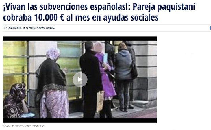 La noticia de Periodista Digital que titulaba de manera errónea el caso de estafa