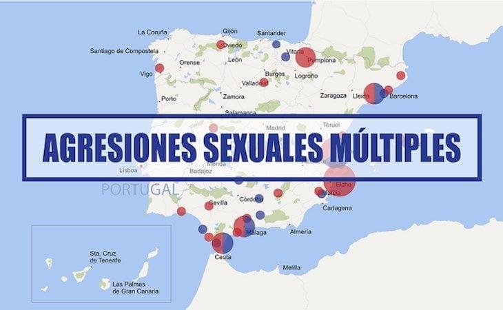 Mapa de agresiones sexuales múltiples elaborado por Geoviolencia Sexual