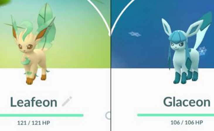 Glaceon y Leafeon en 'Pokémon Go'
