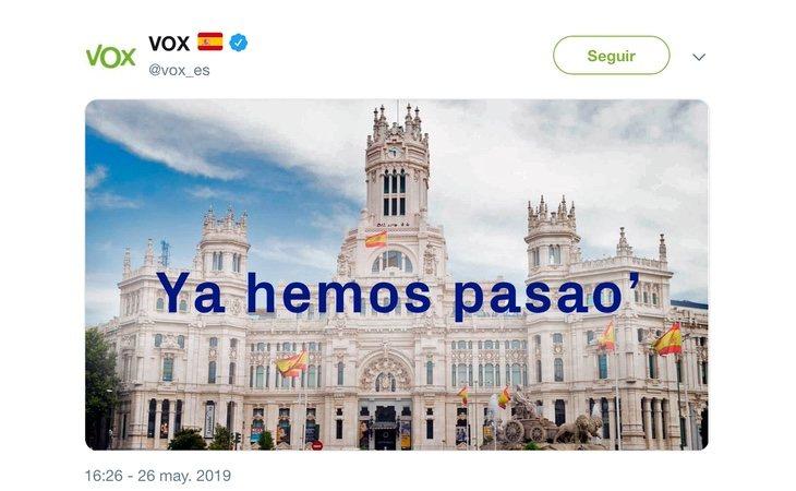 VOX se mofa del lema utilizado por los republicanos durante la Guerra Civil en Twitter: