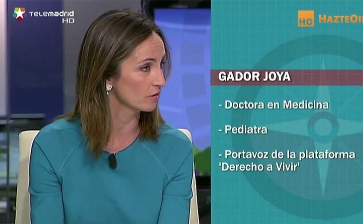 Gádor Joya, durante uan intervención en un debate de TeleMadrid