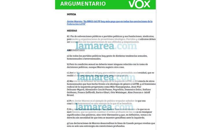 La Marea ha tenido acceso al homófobo argumentario que VOX ha mandado a Javier Maroto
