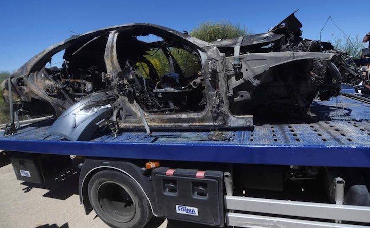 Así quedó el coche tras el accidente en el que falleció José Antonio Reyes
