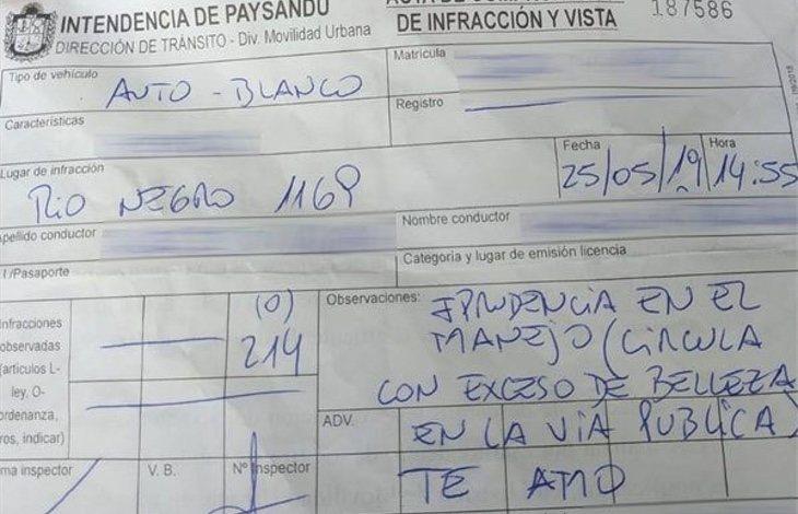 La multa se hizo viral en redes sociales