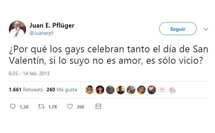 Mensaje de Juan Ernesto Pflüger (VOX) en contra de los gays