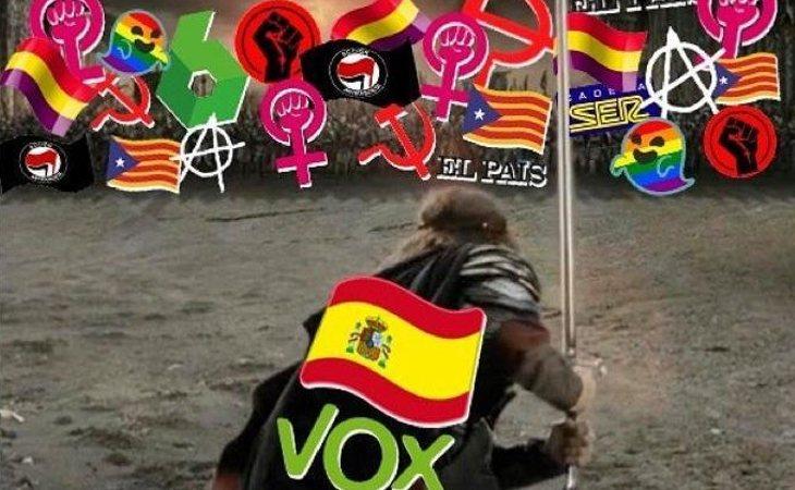 Montaje de VOX con 'El Señor de los Anillos' colocando al colectivo LGTBI como enemigo