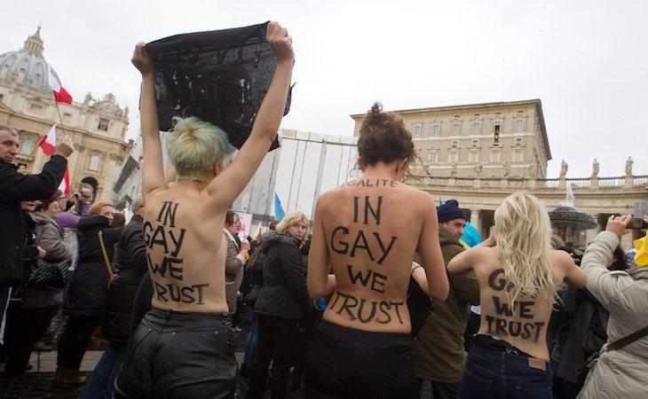 Protestas en el Vaticano contra su oposición al matrimonio homosexual