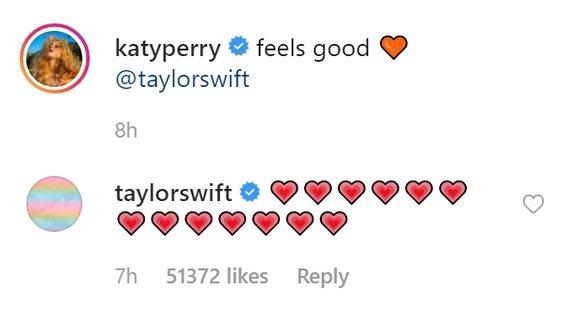 Taylor Swift responde a Katy Perry en Instagram, enterrando el hacha de guerra entre ambas