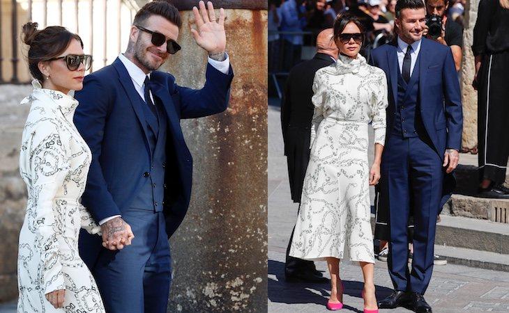 Victoria Beckham se visitió de blanco para la boda de Sergio Ramos y Pilar Rubio