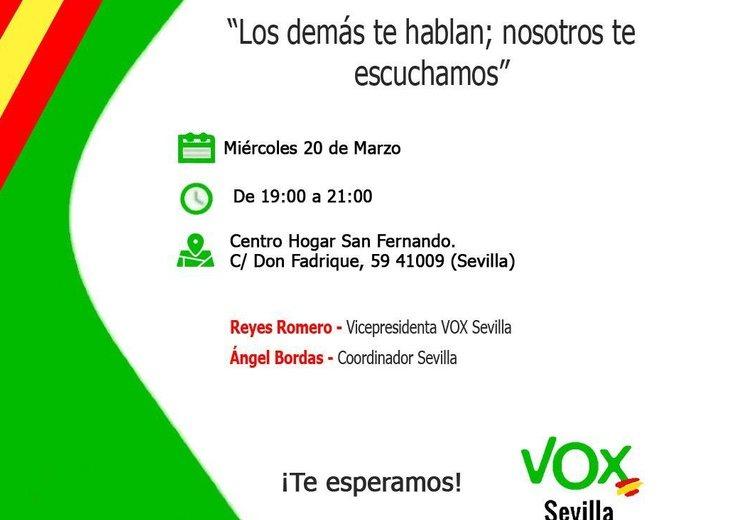 Cartel en el que VOX continua anunciando a Bordas como coordinador del partido en Sevilla