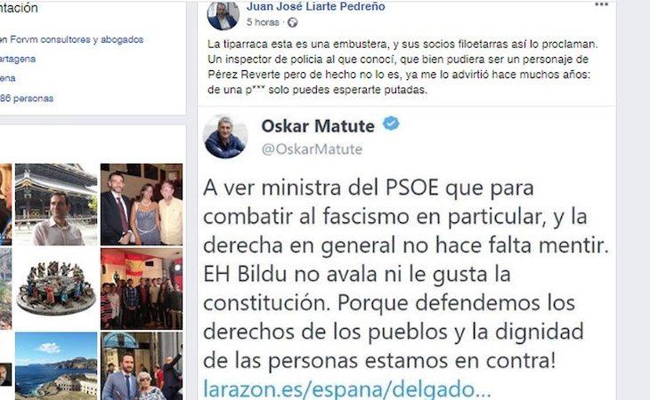 Juan José Liarte publicó los insultos a Dolores Delgado en su perfil de Facebook