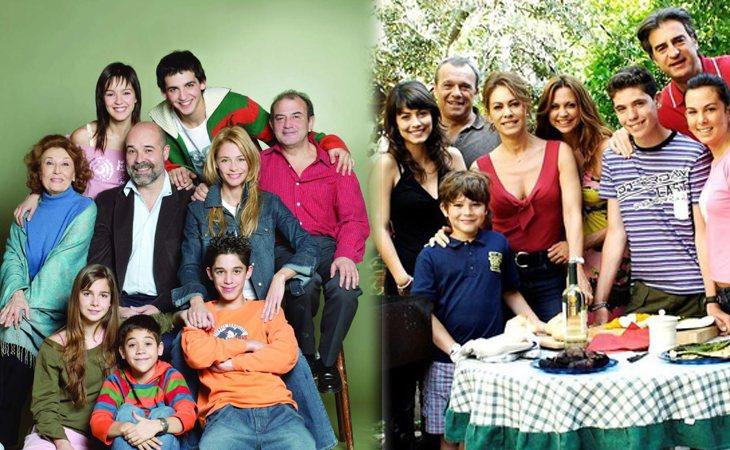Protagonistas de 'Los Serrano' (izq.) y protagonistas de la versión italiana (der.)