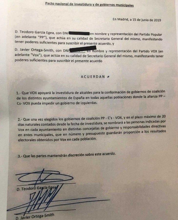 El mencionado documento, en el cual aparece C's, está firmado por Javier Ortega Smith (VOX) y Teodoro García Egea (PP)