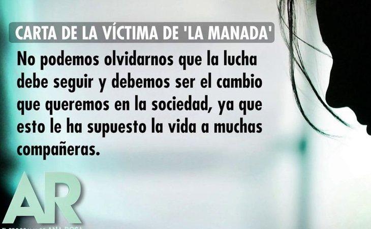 La víctima de 'La Manada' ha mandado una carta a 'El programa de Ana Rosa'