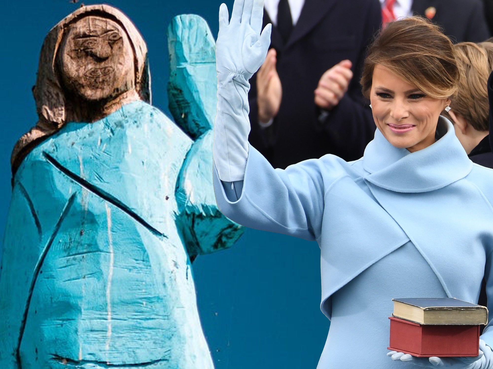 Construyen una estatua a Melania Trump en su pueblo y acaba convertida en el 'Ecce Homo'