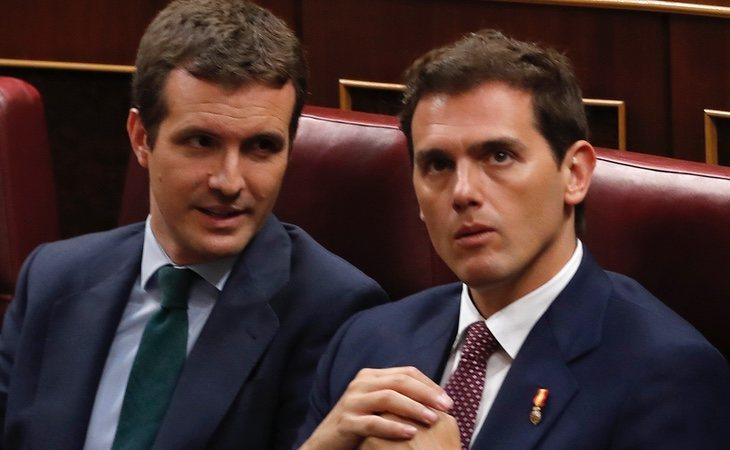 Rivera, en una de sus últimas apariciones públicas junto al líder del PP Pablo Casado