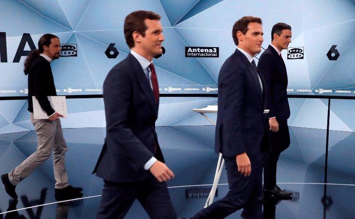 Pablo Iglesias, Pablo Casado, Albert Rivera y Pedro Sánchez
