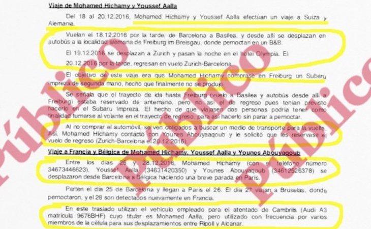 Informe reservado del servicio secreto sobre los viajes en Europa, a finales de 2016, de los autores de los atentados de Barcelona y Cambrils - Público