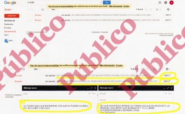 Captura de pantalla de los dos borradores en los que el controlador del CNI le pide que escriba mensajes por ese método imposible de interceptar - Público