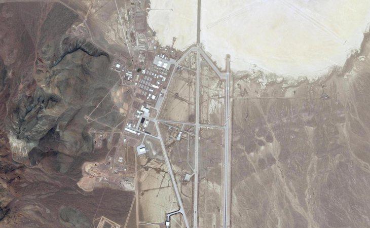 Vista satelital del Área 51 en Nevada, Estados Unidos