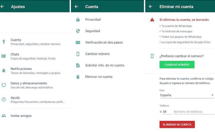 Estos pasos permitirán borrar la cuenta de WhatsApp
