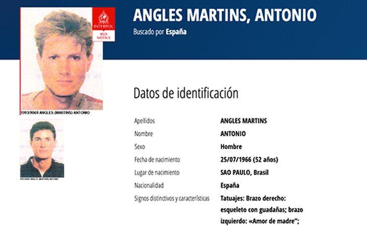 Antonio Anglés figura como uno de los criminales españoles más buscados por la Interpol