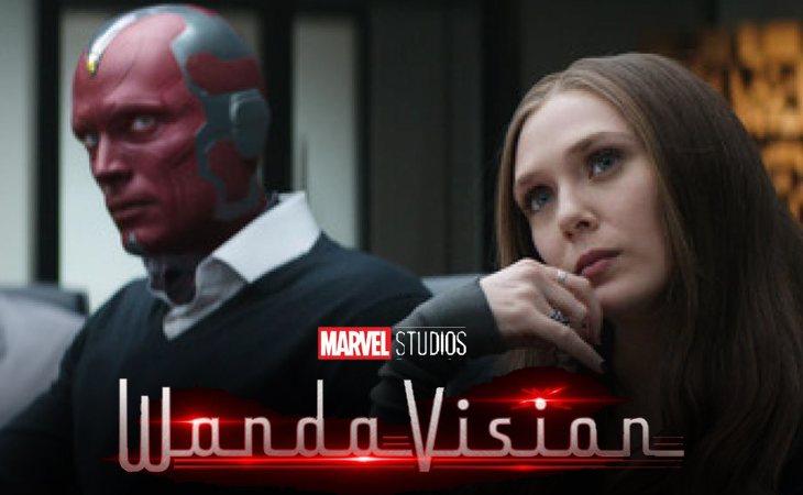 Paul Bettany y Elizabeth Olsen como Vision y la Bruja Escarlata