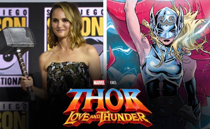 Natalie Portman empuñando el Mjolnir en la Comic Con