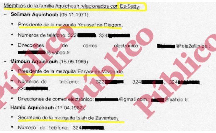 Fragmento del informe del CNI sobre las relaciones del imán de Ripoll con los responsables de las mezquitas yihadistas en Bélgica - Público