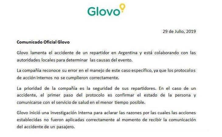 El comunicado en el que Glovo asume la mala gestión del incidente