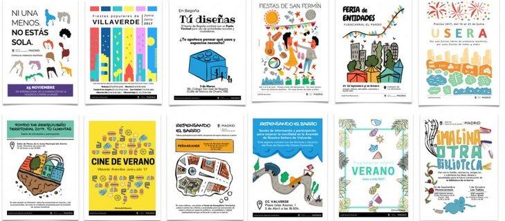 Algunos carteles creados en el marco del servicio de dinamización y participación ciudadana