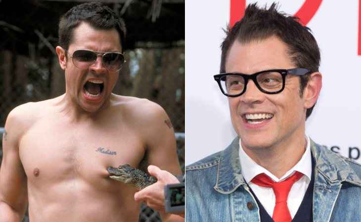 Johnny Knoxville en 'Jackass' (izq.) y en la actualidad (der.)