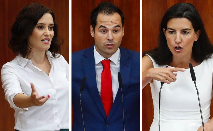 Isabel Díaz Ayuso (PP), Ignacio Aguado (Ciudadanos) y Rocío Monasterio (VOX)