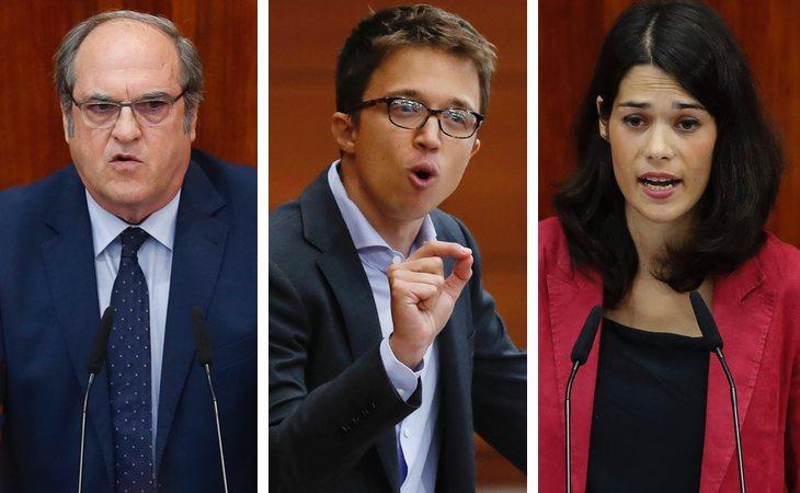 Ángel Gabilondo (PSOE), Íñigo Errejón (Más Madrid) e Isabel Serra (Unidas Podemos)
