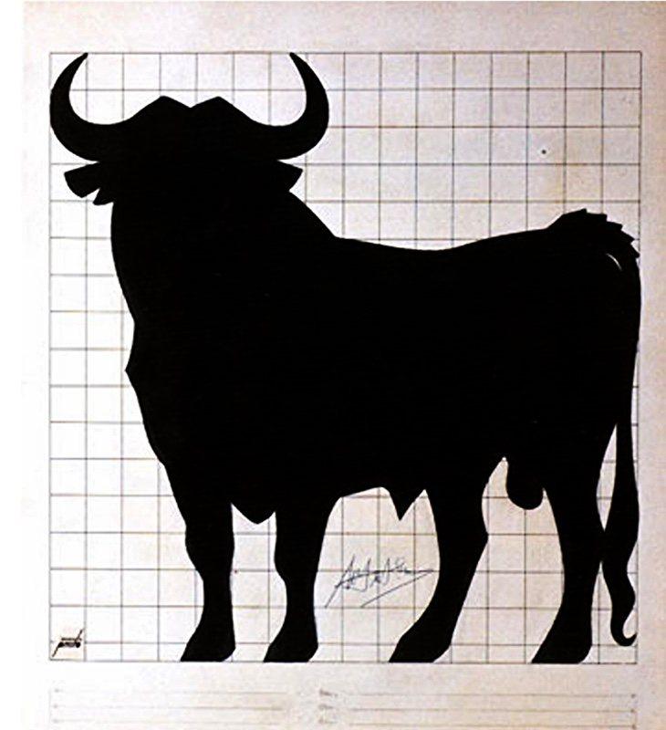 Copia del boceto original que Manolo Prieto realizó para el Grupo Osborne | Fuente: Fundación Manolo Prieto