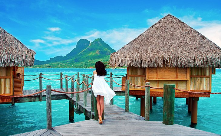 El atolón de Bora Bora está situado cerca del volcán extinto Otemanu