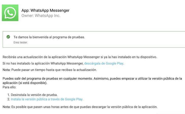 La versión beta está disponible en Android y Apple